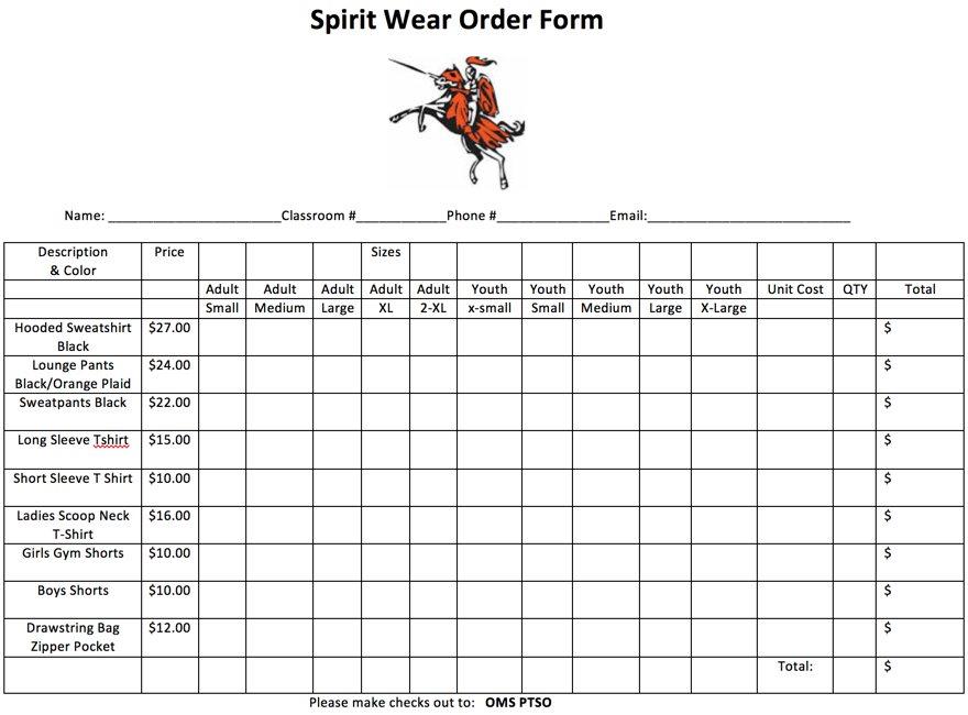 spirit wear order form